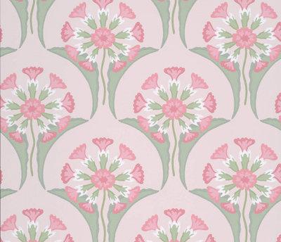 Little Greene Hencroft Pink Primula Behang
