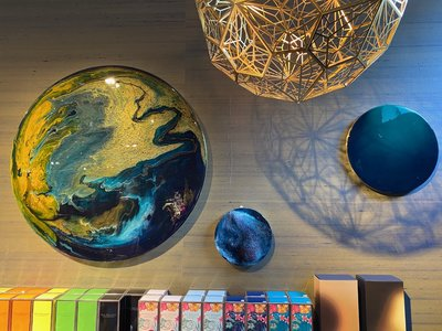 Rond kunstwerk Palawan Ø90 cm door Corine van Voorbergen