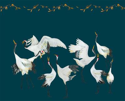 Catchii Japanese Crane Dance Behang - Blauw