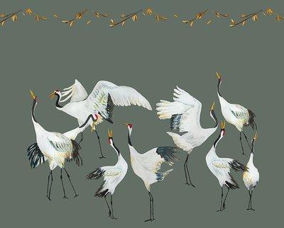 Catchii Japanese Crane Dance Behang - Groen