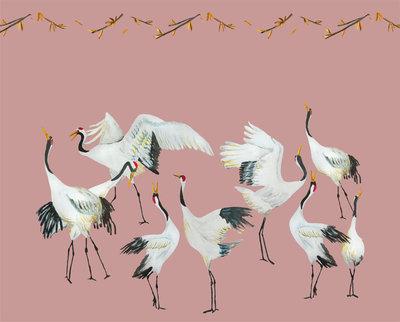 Catchii Japanese Crane Dance Behang - Roze