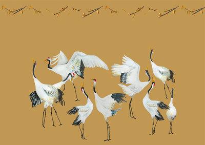 Catchii Japanese Crane Dance Behang - Okergeel