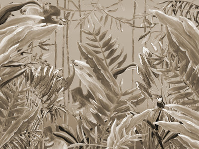 Catchii Jungle Forest Behang - Sepia