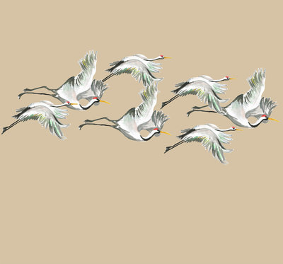 Catchii Flying Cranes Behang - Beige