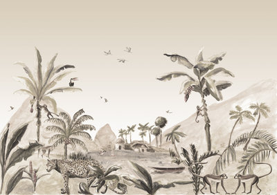 Catchii Jungle Landscape Behang - Sepia