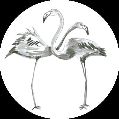 Catchii Zwart-Wit Flamingo's Behangcirkel