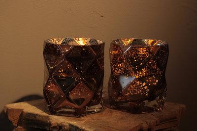 Windlichtjes Brons Glas