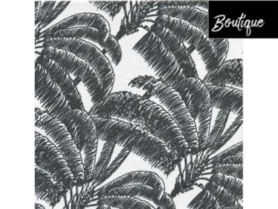 Francoise Paviot Servet Zwart Wit Palm 40 x 40 cm