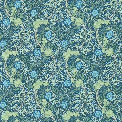 Morris Seaweed Behang - Cobalt / Thyme