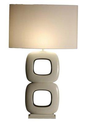 Tafellamp Due Quadrato Maxime Wit Glans Nikkel