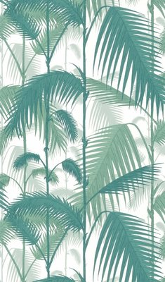 Cole and Son Palm Jungle Behangpapier Wit Donker Groen