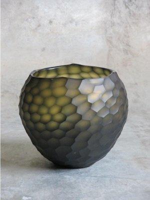 Glazen Vaas Carved Amber - Grijs