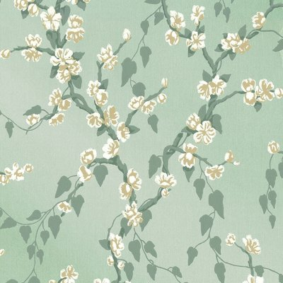 Little Greene Sakura Behang - Aqua Lustre
