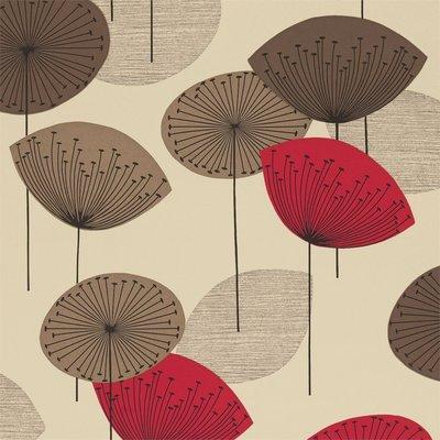 Sanderson Dandelion Clocks Behang - Red
