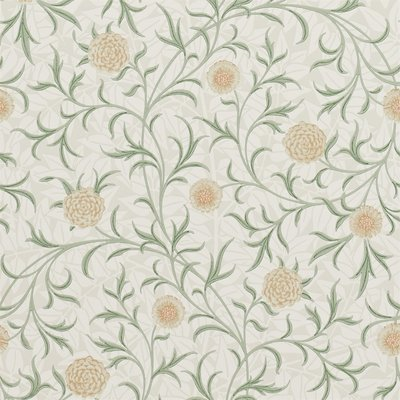 Morris Scroll Behang - Thyme / Pear