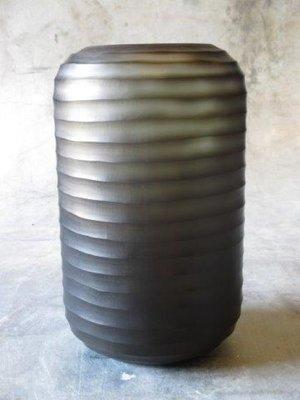 Glazen Cilinder Vaas Bruin - Carved Glass