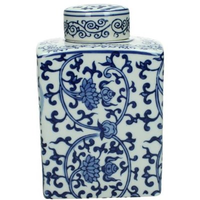 Chinese Dekselpot Porselein Blauw Wit