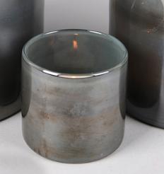 Glazen Windlicht Grijs - Ø 8 cm x H 8,5 cm