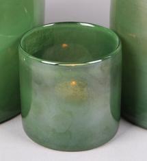 Glazen Waxinelichthouder Groen - Ø 8 cm x H 8,5 cm