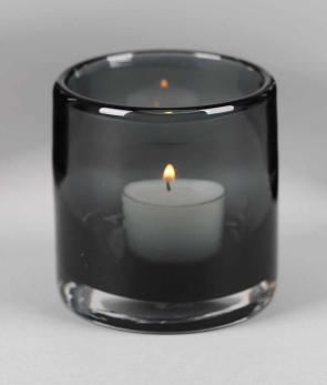 Glazen Waxinelichthouder Grijs - Ø 8 cm x H 8,5 cm