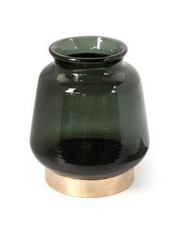 Groene Glazen Vaas Gouden Onderstuk
