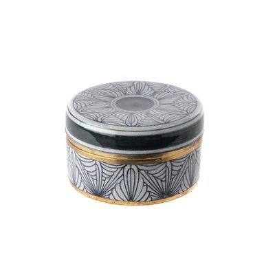 Porseleinen Potje Art-Deco Zwart Wit Goud