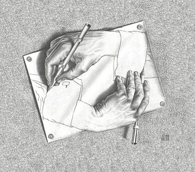 Escher Drawing Hands Behang