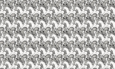 Escher Horseman Behang