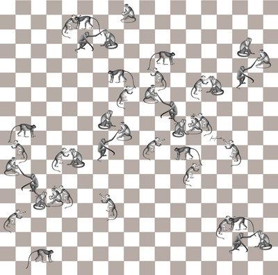 Fornasetti Behang Apen Checkmate Paneel