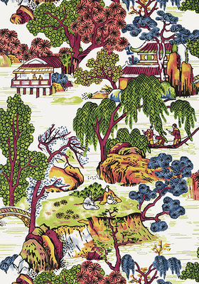 Chinoiserie Behang Thibaut Asian Scenic