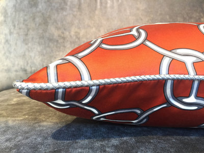 60 x 40 cm Hermès Stof Sierkussen Oranje - Fil d'Argent
