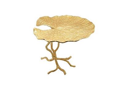 Gouden Lotusblad Op Voet