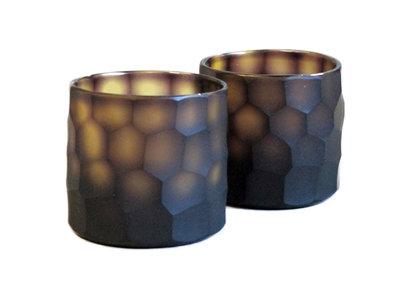 Waxinelichthouder Bruin Glas