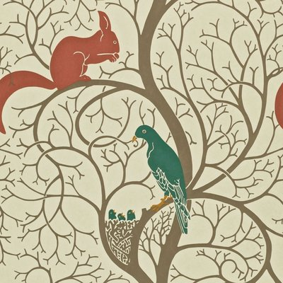 Squirrel & Dove: Teal/Red