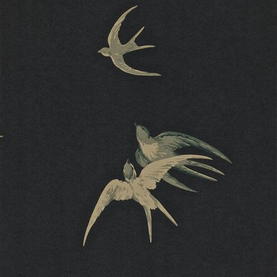 Sanderson Swallows behang - Black