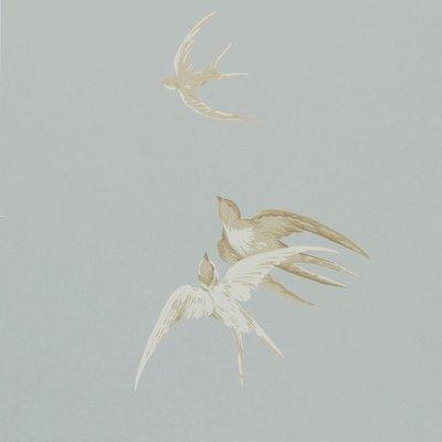Sanderson Swallows behang - Silver