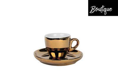 Espresso Kop En Schotel Gold 55 ml - 4 stuks