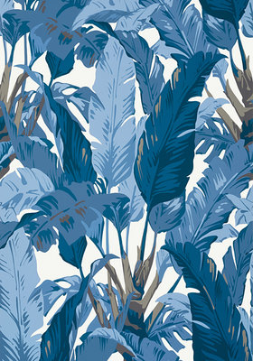 Thibaut Travelers Palm Behang Blauw