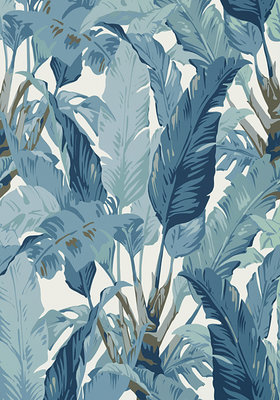 Thibaut Travelers Palm Behang Spa Blauw
