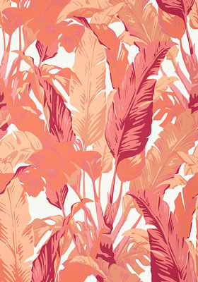 Thibaut Travelers Palm Behang Roze - Rood