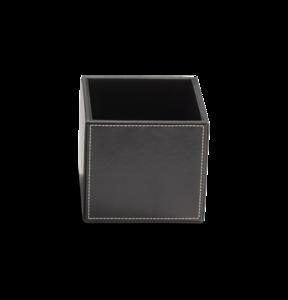 donkerbruine leren multi-purpose box opbergdoosje luxe badkameraccessoires decor walther dealer luxury by nature amsterdam