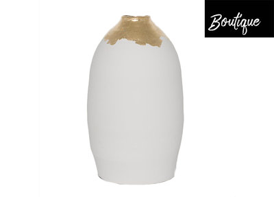 Witte Vaas Bladgoud Luxury By Nature Boutique