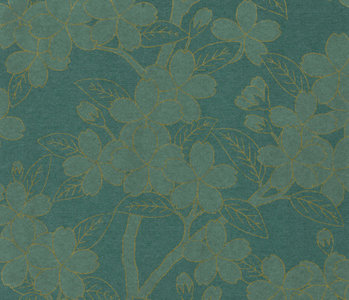 Behang Little Greene Camellia Teal 20th Century Papers Collectie Luxury By Nature