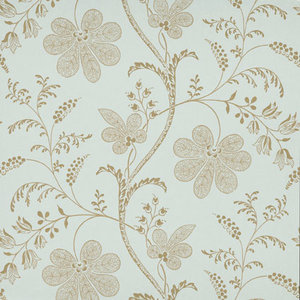 Little Greene behang, London Wallpapers 2, Bedford Square, goud, blauw, bloem, streep, 0273BELARIM,