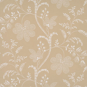 Little Greene behang, London Wallpapers 2, Bedford Square, wit, bruin, bloem, streep, 0273BEECRUZ,