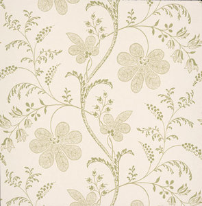 Little Greene behang, London Wallpapers 2, Bedford Square, wit, groen, bloem, streep, 0273BEPRINT,