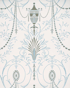 Little Greene behang, London Wallpapers 2, Marlborough, blauw,goud, wit, 0273MACRYST,