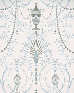Little Greene behang, London Wallpapers 2, Marlborough, blauw,goud, wit, 0273MACRYST,