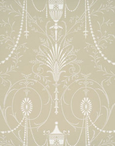 Little Greene behang, London Wallpapers 2, Marlborough, grijs,kiezel, wit, 0273MAPURBE,