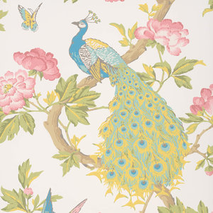 Little Greene Pavona Behang Peacock National Trust Papers Blanche